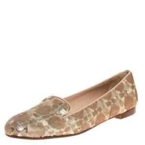 Dior Beige/Gold Sequin Smoking Slippers Size 39.5