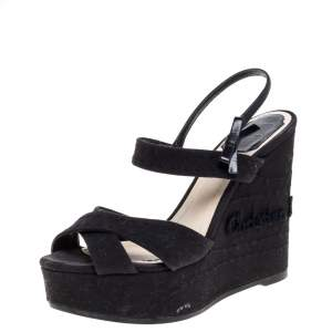 Dior Black Leather And Canvas Criss Cross Platform Wedge Slingback Sandals Size 38