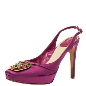 Dior Purple Satin Crystal Embellished Slingback Sandals Size 36