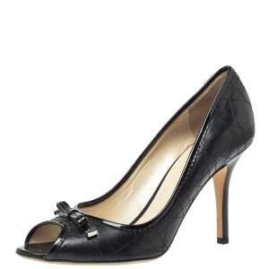 Dior Black Cannage Leather Bow Peep Toe Pumps Size 40