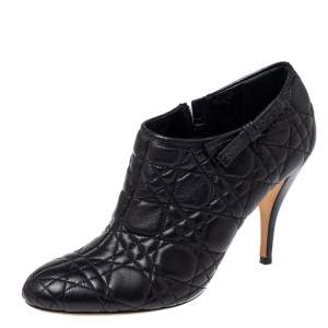 Dior Black Cannage Quilted Leather Ankle Booties Size 40.5