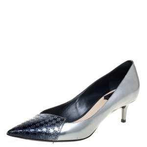 Dior Silver Patent Leather Cannage Ombre Cap Pointed Pumps Size 37