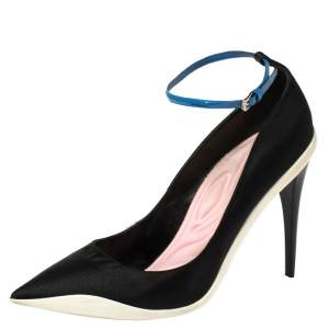 Dior Black Canvas Def Cruise Ankle Strap Pumps Size 40