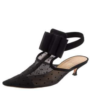Dior Black Mesh And Suede Trim Polka Dot Bow Pointed Toe Slingback Mules Size 39.5