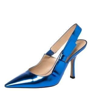 Dior Metallic Blue Leather Sweet-D Slingback Pumps Size 38
