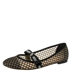Dior Black Mesh Miss J'Adior Round Toe Flats Size 40