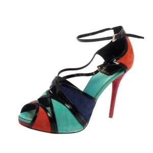 Dior Colorblock Suede and Patent Leather Portofino Strappy Sandals Size 39