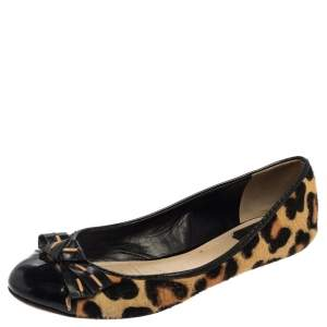 Dior Leopard Print Calf Hair And Patent Leather Bow Ballet Flats Size 39