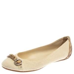 Dior Beige Raffia And Python Trim Horsebit Ballet Flats Size 37
