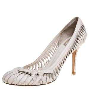 Dior White Leather Cutout Round Toe Pumps Size 41