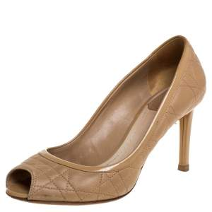 Dior Beige Quilted Cannage Leather And Patent Trim Peep Toe Pumps Size 37