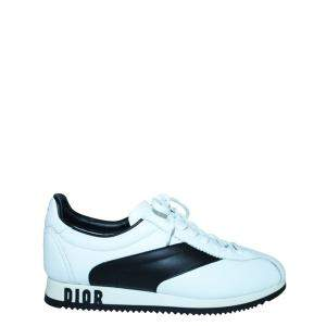 Dior White Calfskin Leather Diorun Sneakers Size EU 38