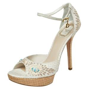 Dior White Embroidered Python And Raffia Ankle Strap Sandals Size 38.5