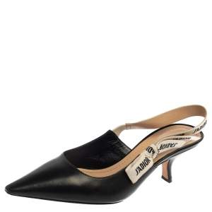 Dior Black Leather J'Adior Slingback Sandals Size 41