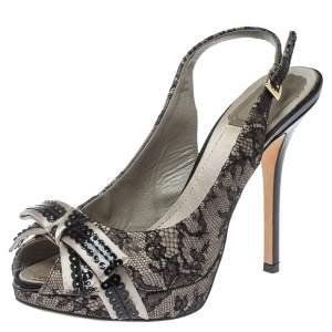 Dior Black/Grey Lace and Satin Bow Slingback Platform Sandals Size 38.5