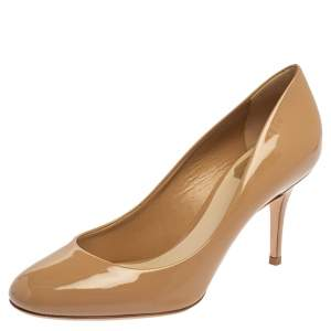 Dior Beige Patent Leather Round Toe Pumps Size 38