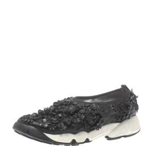 Dior Black Leather Fusion Low Top Sneakers Size 37