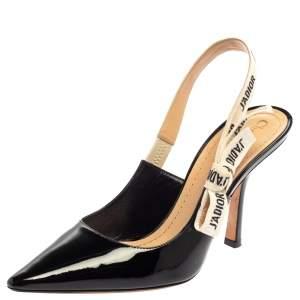 Dior Black Patent Leather J'adior Slingback  Sandal Size 39