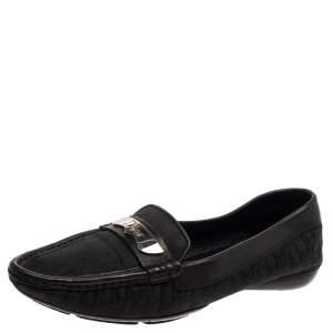 حذاء لوفرز ديور مقدمة مدببة جلد وكانفاس مونوغرامى أسود مقاس 38.5