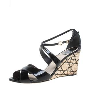 Dior Black Patent Leather Criss Cross Raffia Wedge Ankle Strap Sandals Size 40.5