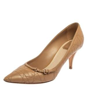 Dior Beige Cannage Leather Buckle Embellished Pointed Toe Pumps Size 41