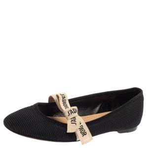 حذاء باليرينا فلات ديور قماش أسود مقاس 37.5