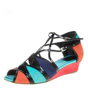 Dior Multicolor Suede And Patent Leather Kitten Wedge Sandals Size 40