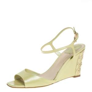 Dior Green Leather Wedge Ankle Strap Sandals Size 38