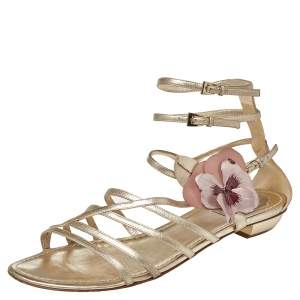 Dior Leather Flower Embellished Strappy Sandals Size 41