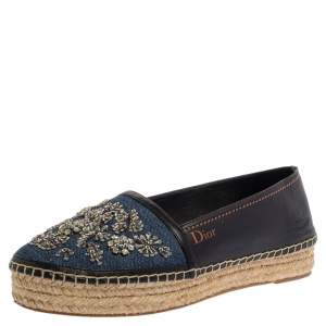 Dior Blue/Black Denim And Leather Embellished Espadrilles Size 38