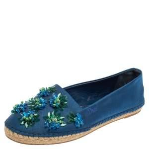 حذاء باليرينا فلات ديور شبكة أزرق إسبادريل سليب أون مقاس 39