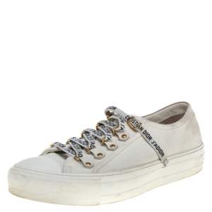 Dior White Canvas Walk'n'Dior Low Top Sneakers Size 38