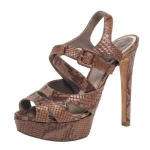 Dior Brown Python Strappy Platform Sandals Size 35