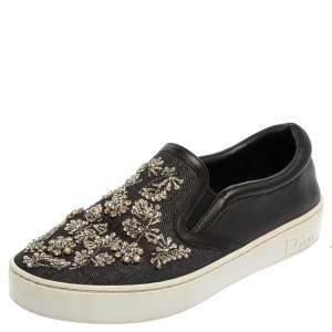 Dior Navy Blue/Black Denim And Leather Happy Crystal Embellished Slip On Sneakers Size 36