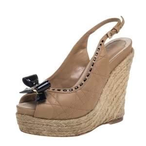 Dior Beige/Black Leather Espadrille Platform Wedge Sandals Size 35