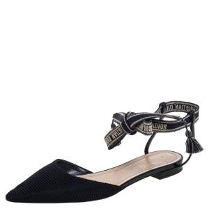 Dior Black Technical Fabric J'Adior Pointed Toe Ankle Wrap Flats Size 37