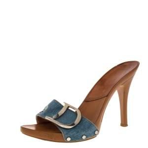 Dior Blue Embroidered Denim Fabric Clog Sandals Size 37