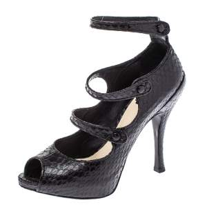 Dior Black Python Leather Spy Strappy Platform Pumps Size 40
