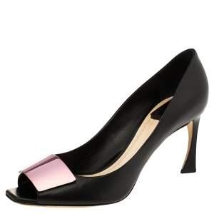 Dior Black Leather Plaque Peep Toe Pumps Size 38.5