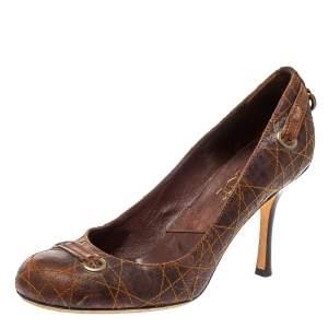 Dior Brown Leather Logo Embellished Slip On Pumps Size 40