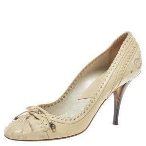Dior Cream Leather Country Horn Pumps Size 40