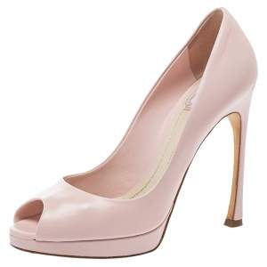 Dior Pink Leather Miss Dior Peep-Toe Pumps Size 37.5