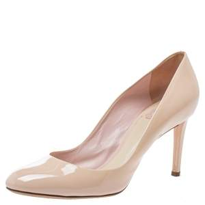Dior Nude Pink Patent Leather Round Toe Pumps Size 41.5