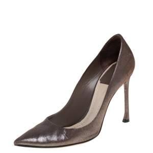 حذاء كعب عالي ديور سويدي بني متقزح شيري مقدمة مدببة مقاس 34.4