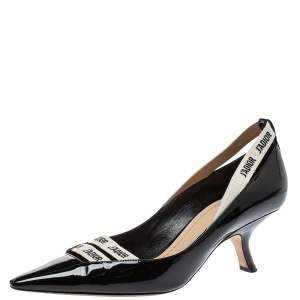 Dior Black Patent Leather J'adior Ribbon Pointed Toe Pumps Size 39