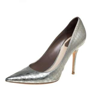 Dior Silver Leather Cannage Pumps Size 39