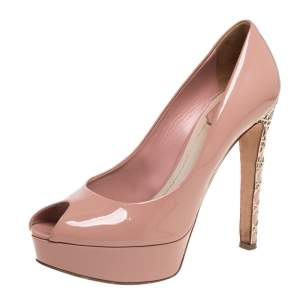 Dior Beige Patent Leather Miss Dior Peep Toe Pumps Size 39