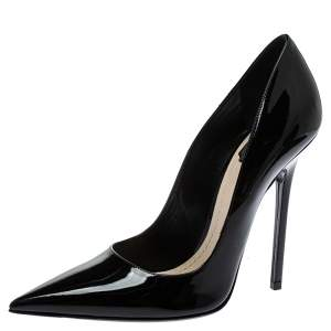 Dior Black Patent Leather Cherie Pointed Toe Pumps Size 40