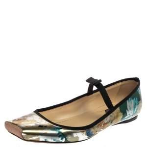 حذاء ديور فلات مقدمة مربعة مارى جين جلد لامع متعدد الألوان مقاس 41.5