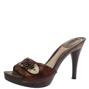 Dior Brown Leather Platform  Sandals Size 40.5